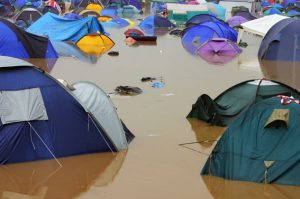 Flooded festival campsite