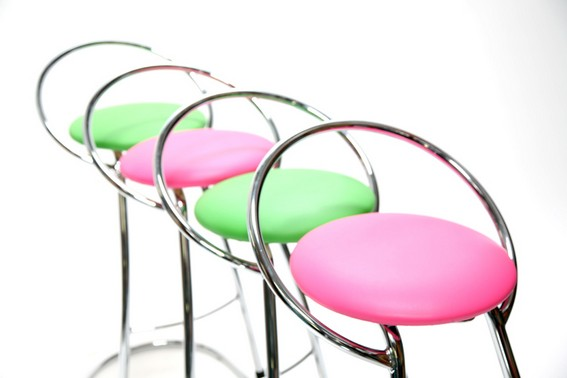 green and pink bar stools