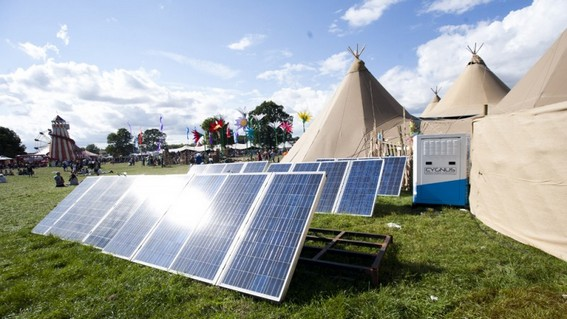 Firefly solar panels at a festival