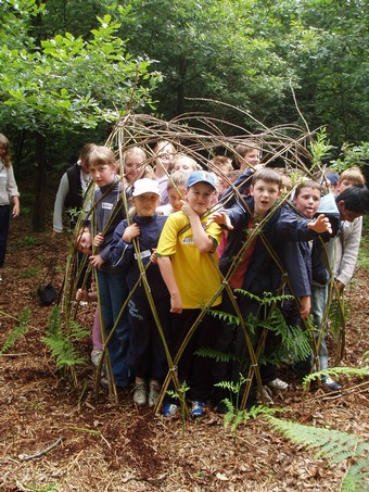 Children Build Den