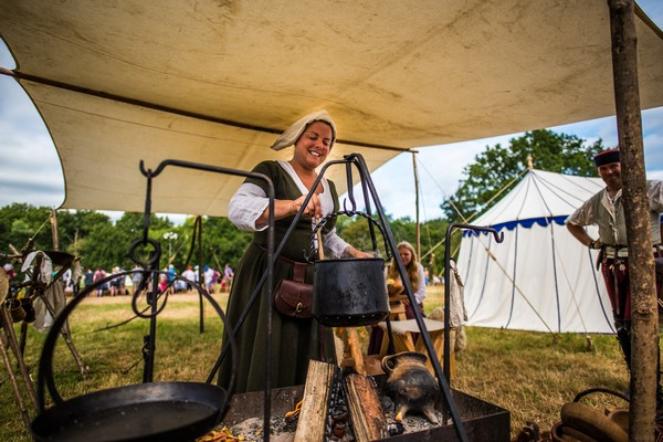 Medieval cooking woman