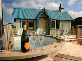 Luxury glamping with champagne
