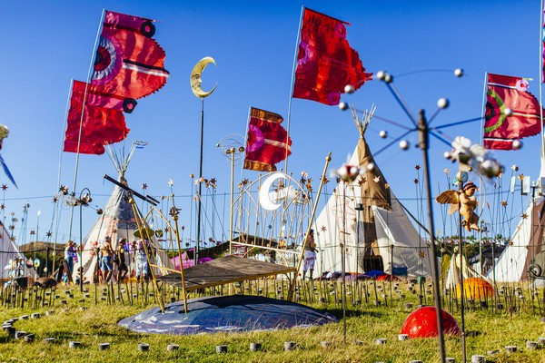 Tipis and decorations at festival