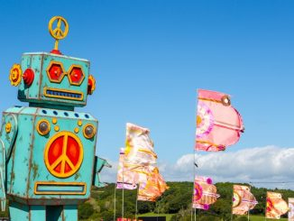 Robot decoration and flags at festival