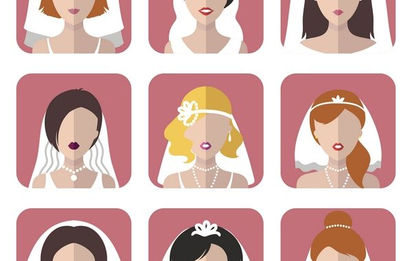 Vector wedding set of different bride app icons in trendy flat style. Bridal girls web avatars collection.