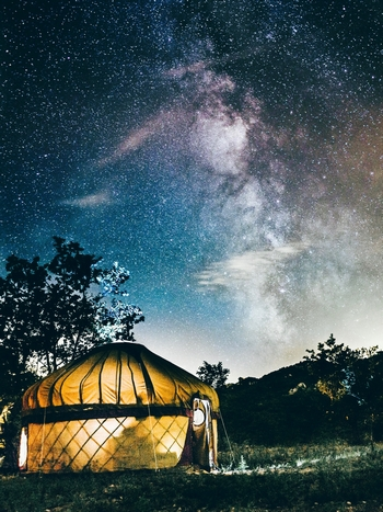 Glamping at nighttime