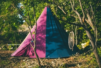Pink and blue tent