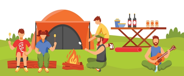 Cartoon family camping by campfire