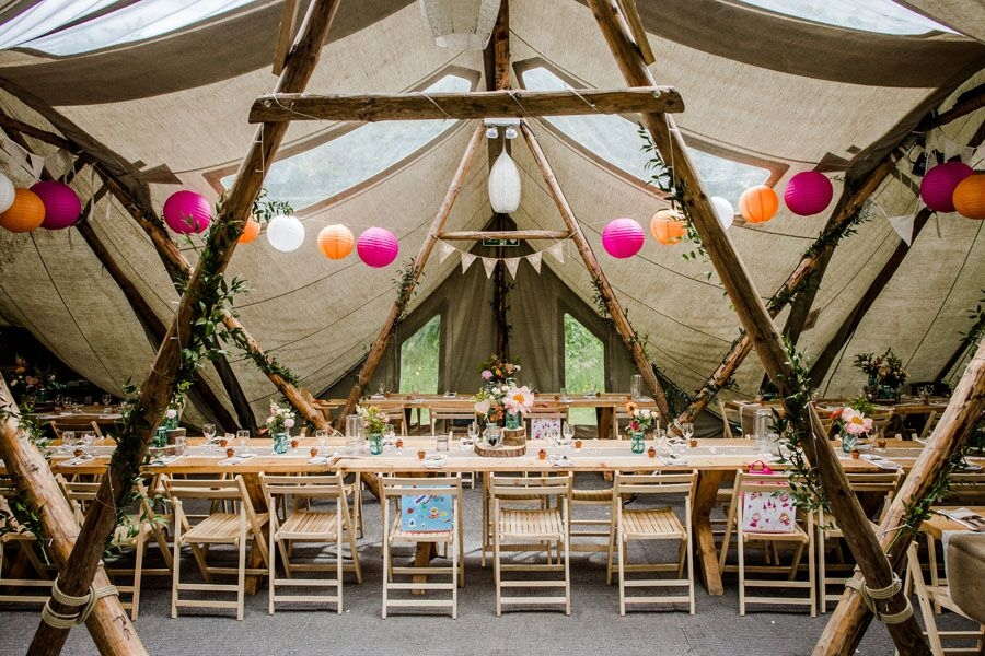 Dining table set up in tipi