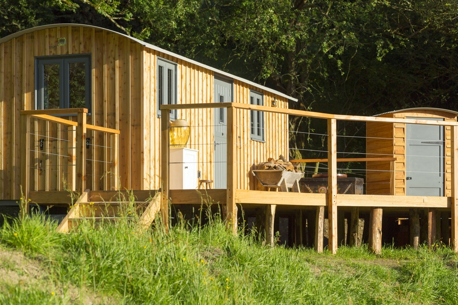 Close up of wooden glamping unit