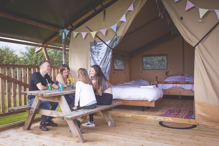 Family on glamping holiday
