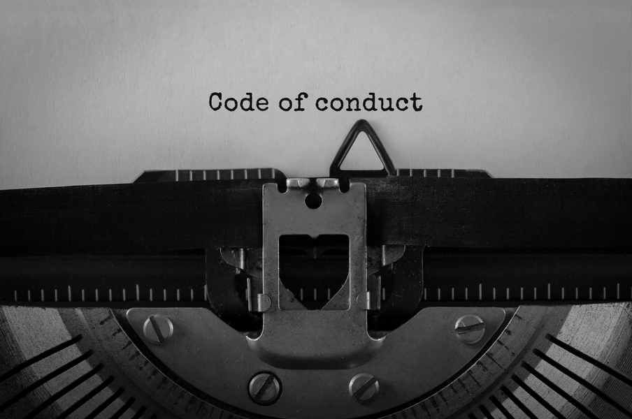 Code of conduct typewriter