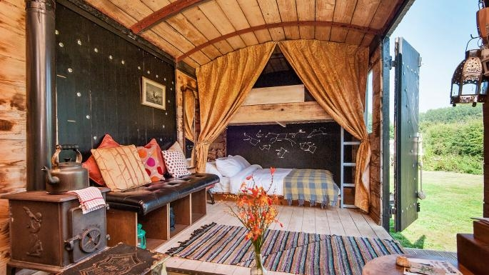 Rustic style glamping interior