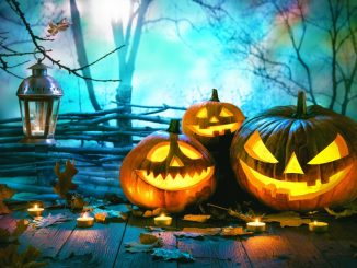 Pumpkins at nighttime