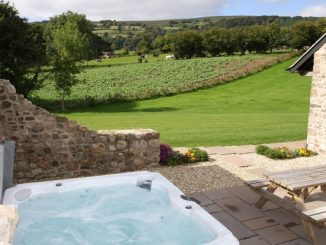 Hot tub looking onto field