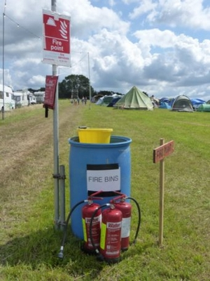 Fire extinguishers at festival