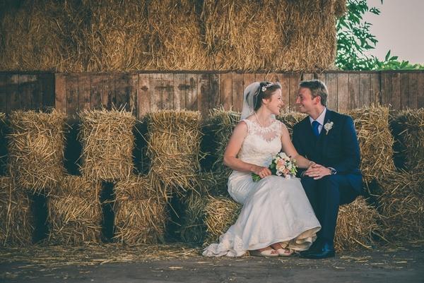 Huntstile outdoor wedding hay bales