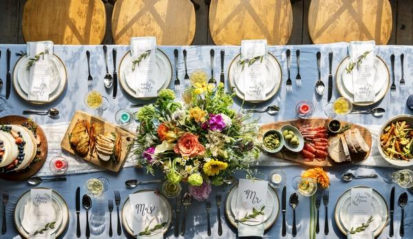 Personalised wedding dinner set up