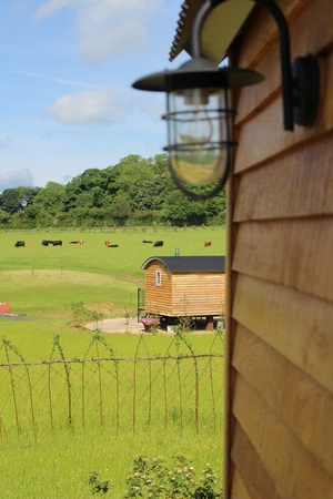 Fair Farm Hideaways outside glamping unit on a sunny day