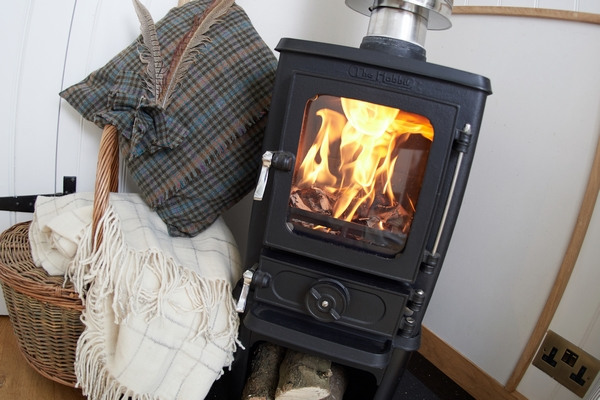 Small wood burning stove and blankets
