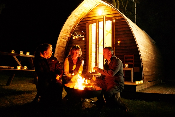 Glamping camp fire