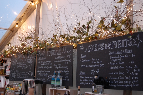 Riverhill Christmas event bar and cafe board menu