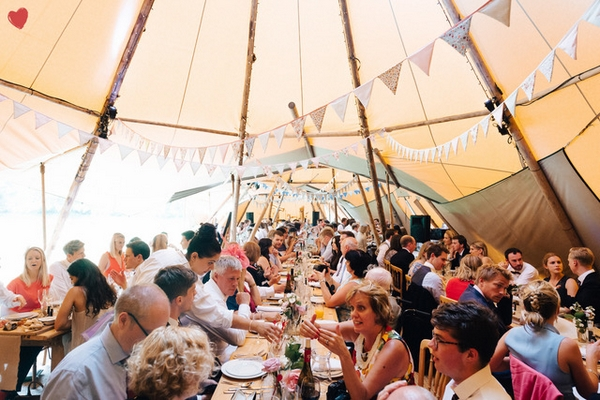 Church Farm Weddings inside marquee wedding dinner