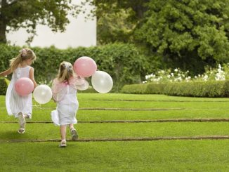Children at wedding event with balloons