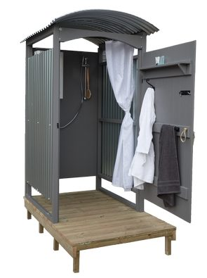 Portable shower shack from the English Shepherds Hut Company