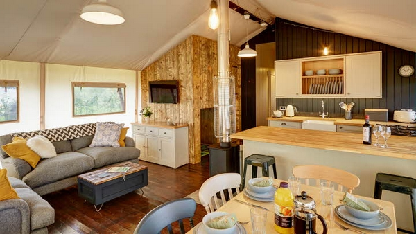 The interior of a Safari Lodge at Love2Stay, Shropshire