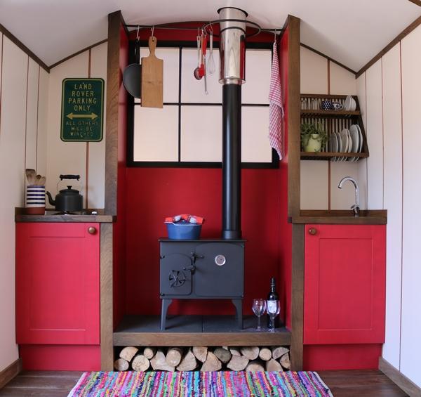Plain Huts glamping shepherd hut kitchen