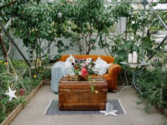 Sofa outside at herb garden wedding venue