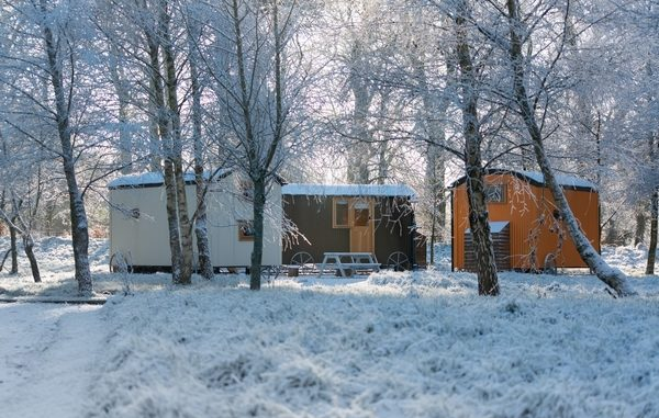 Group of shepherd huts in woods