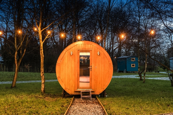 Glamping pod at night