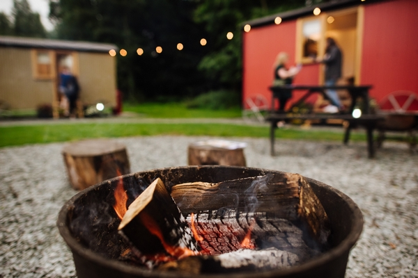 Fire pit with shepherd huts