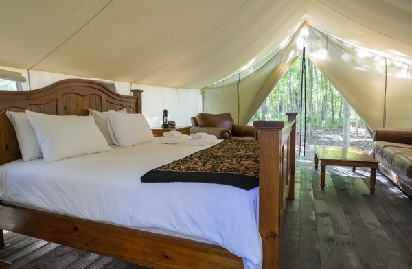 Bed in a bell tent