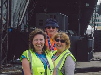 Event team volunteers in hi-viz vests