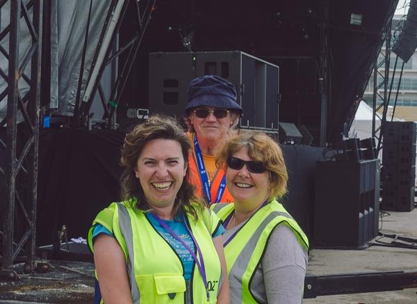 Event team volunteers in hi-viz vests