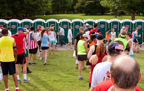Big queues for toilets at a festival