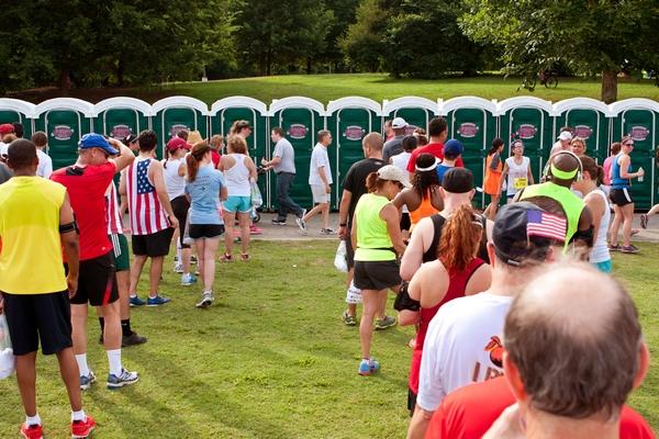 Big queues for toilets at a festival