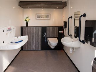 Interior of a luxury mobile toilet