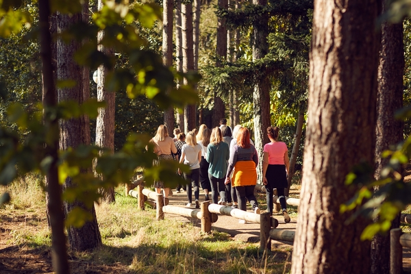 Walking through a forest at Center Parcs