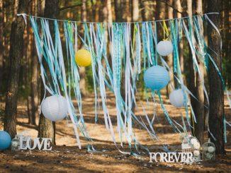 Outdoor wedding venue hanging decorations