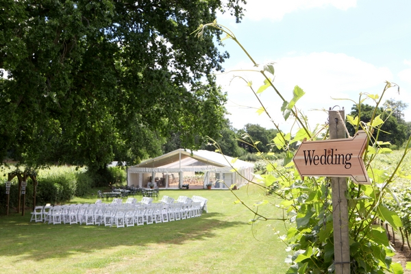 Marquee on lawn for outdoor wedding