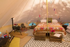 Interior of bell tent