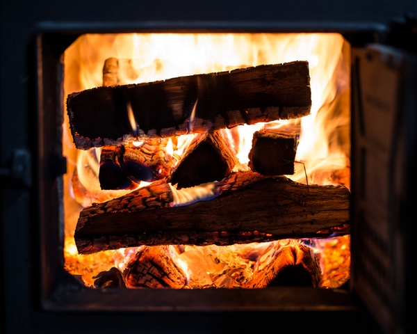 Pile of wood burning in the stove