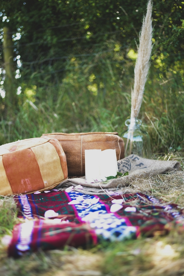 Outside styling of cushions and a blanket