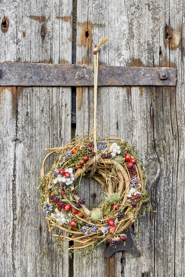 Wreath hanging on a barn door