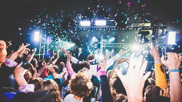 Confetti in the air at festival