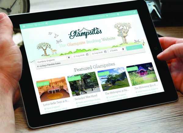 iPad with Glampsites website open